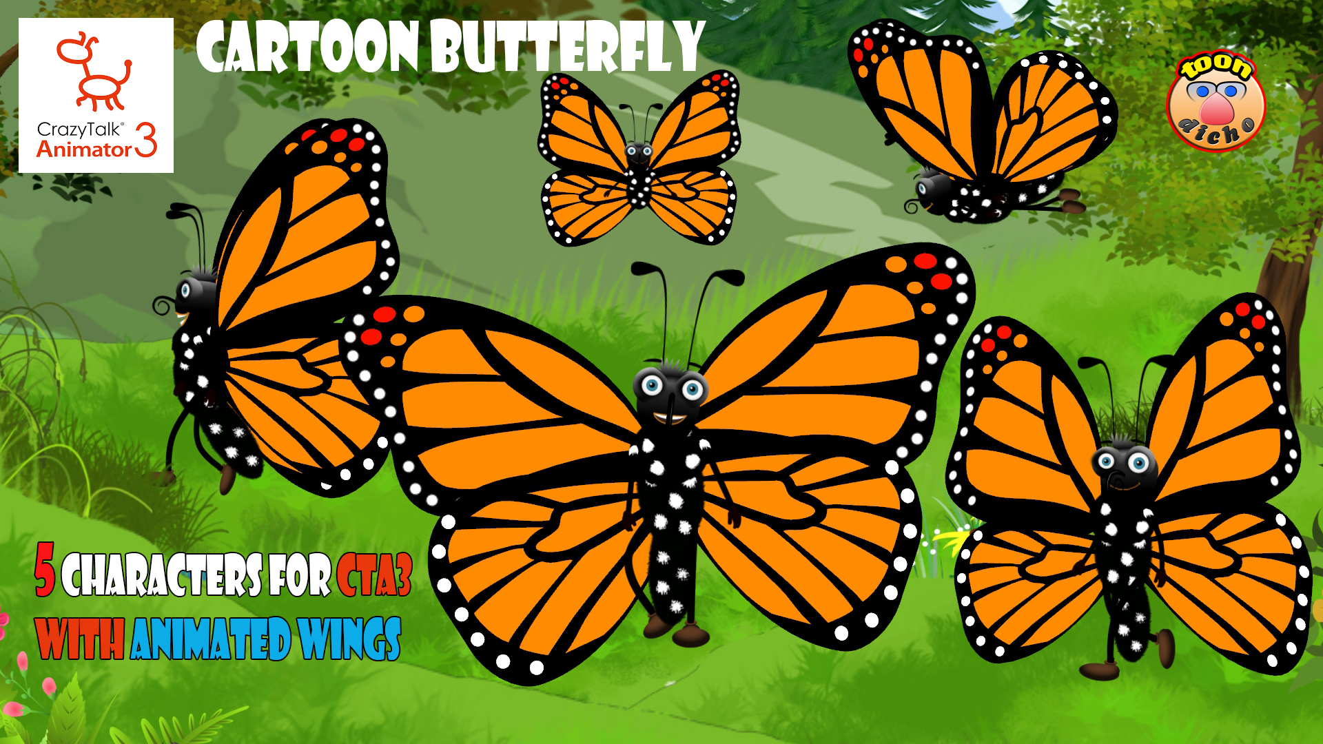 Cartoon Butterfly (Flying)-F - Reallusion Marketplace