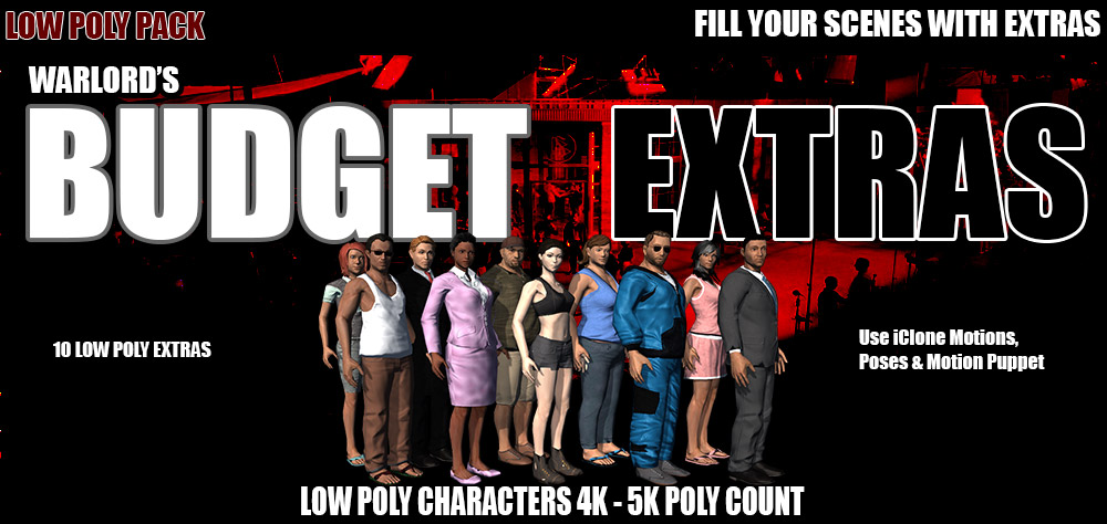 10 Pack Budget Extras Low Poly Characters - Reallusion