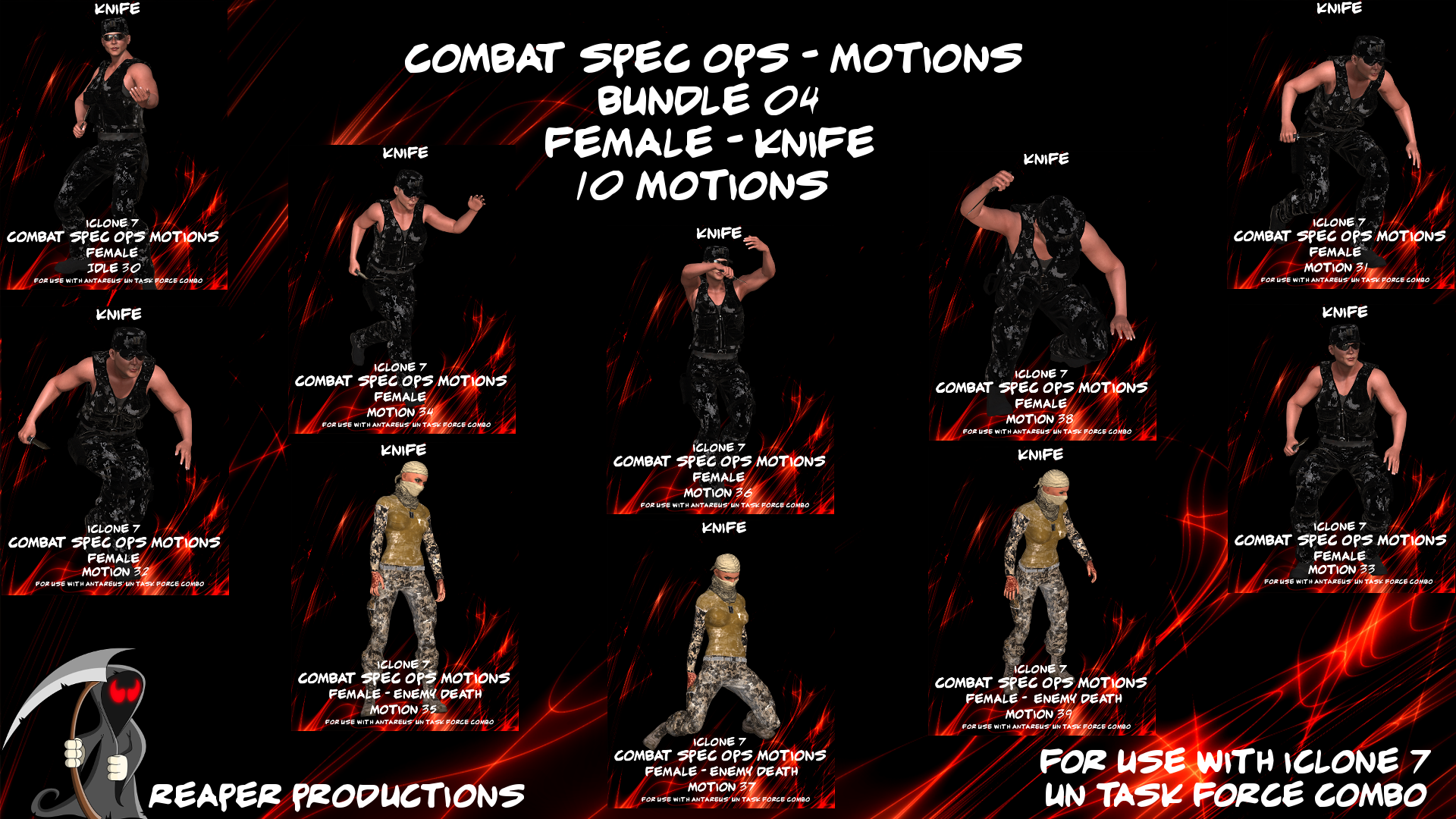 Spec Ops Motion Bundle 04 - Female Knife - Reallusion Marketplace